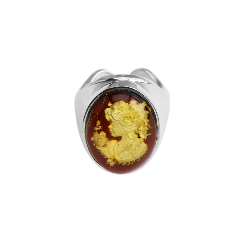 Classic Baltic Amber Cameo Sterling Silver Ring