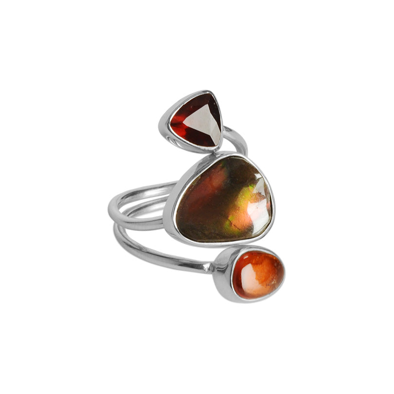 Gorgeous Ammolite and Garnet Sterling Silver Ring by Starborn