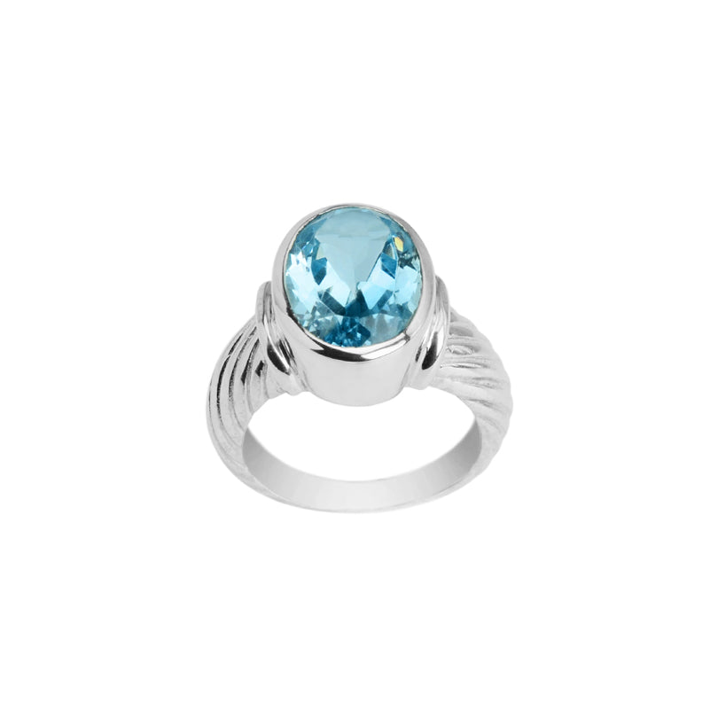 Sky Blue Topaz Ribbed Silver Design Sterling Silver Ring