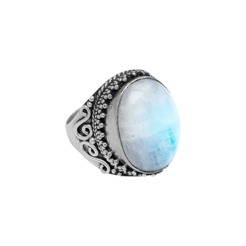 Mystical Magical Moonstone Large Stone Sterling Silver Statement Ring