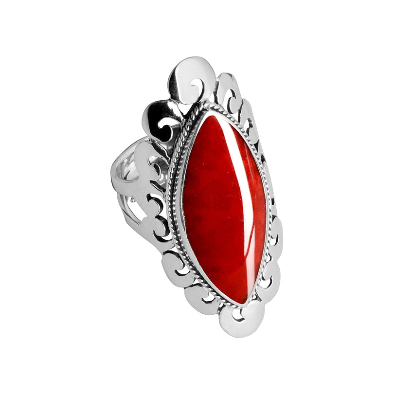Fantastic Coral Sterling Silver Ring