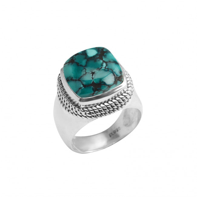 Stunning Large Genuine Turquoise Sterling Silver Ring