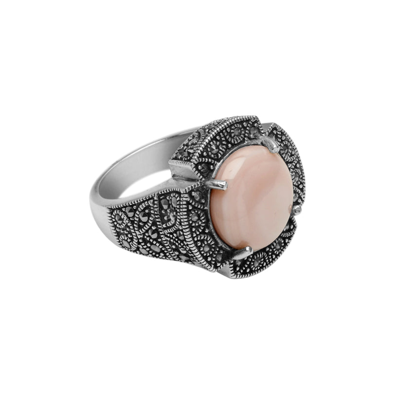 Creamy Pink Mother of Pearl and Marcasite Sterling Silver Ring