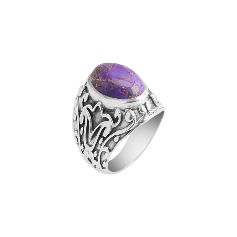 Gorgeous Purple Turquoise Bali Filigree Sterling Silver Statement Ring
