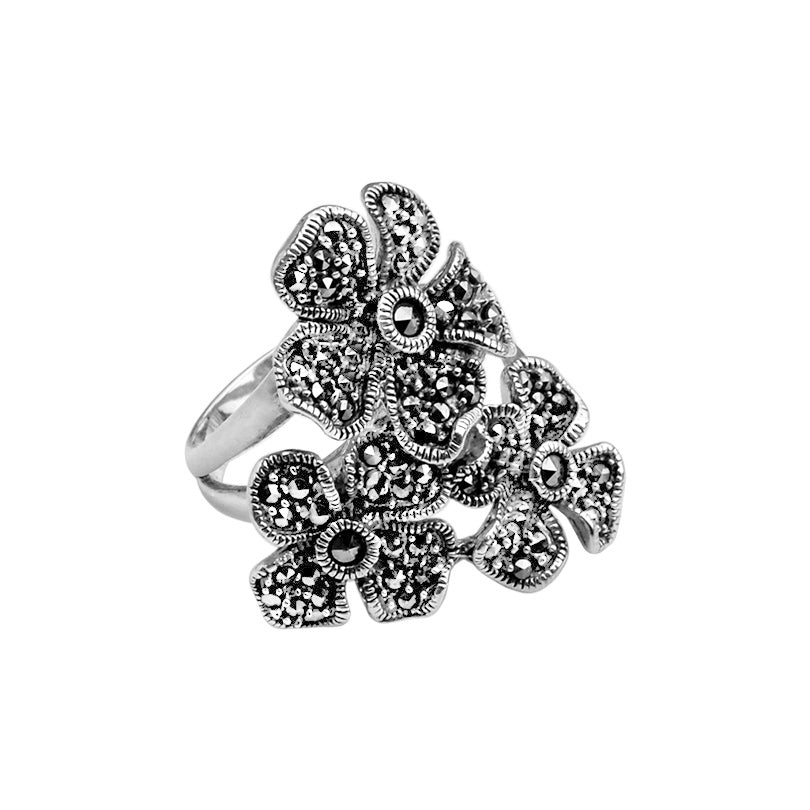 Beautiful Marcasite Flowers Sterling Silver Flower Ring