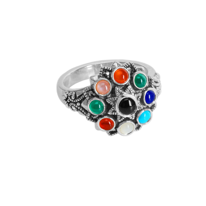 Glorious Marcasite and Mixed Semi Precious Gemstones Sterling Silver Ring