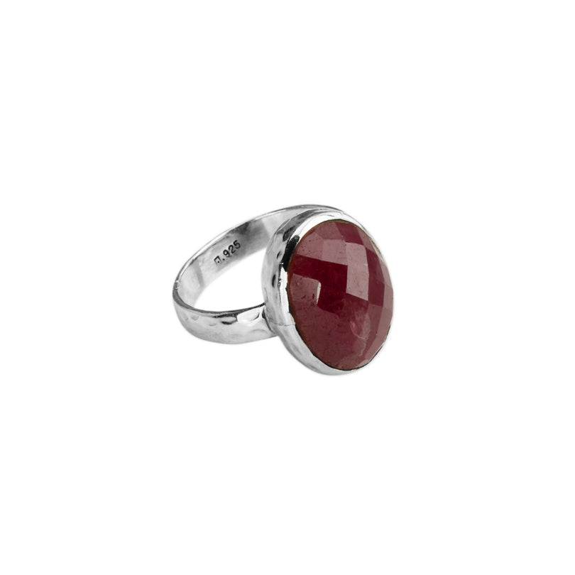 Faceted Red Corundum Sterling Silver Ring