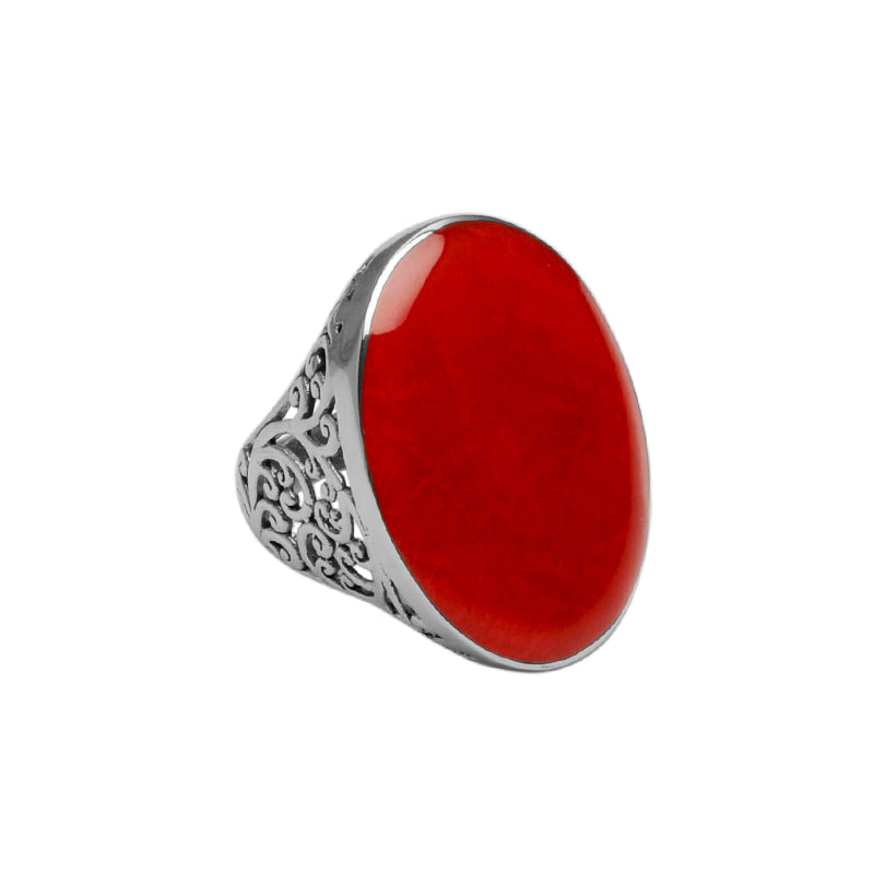 Red Coral Ring with Bali Sterling Silver Filigree