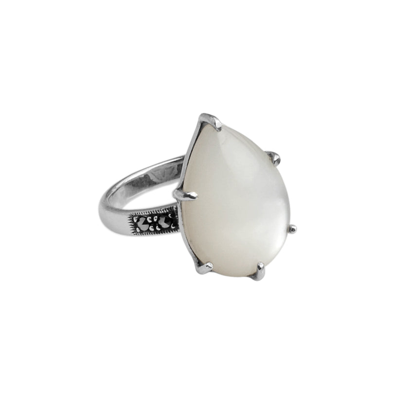 Teardrop White Mother of Pearl and Marcasite Sterling Silver Ring