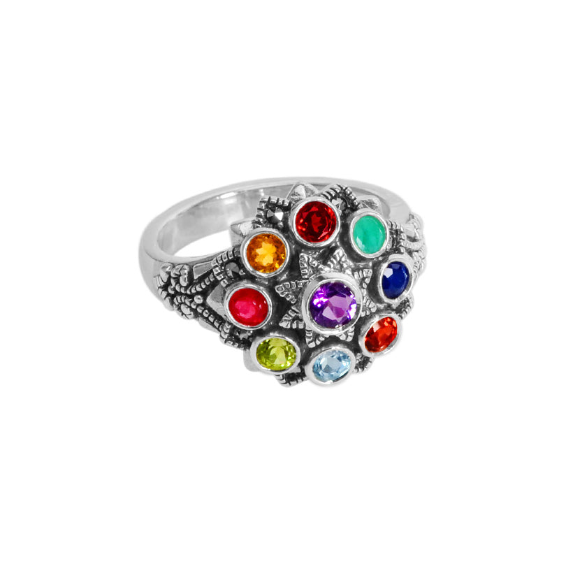 Sparkling Kaleidoscope of Mixed Gemstones and Marcasite Sterling Silver Ring