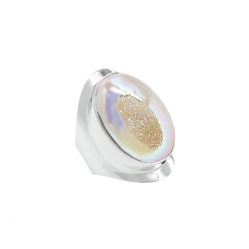 Sparkling Champagne Titanium Drusy Sterling Silver Ring