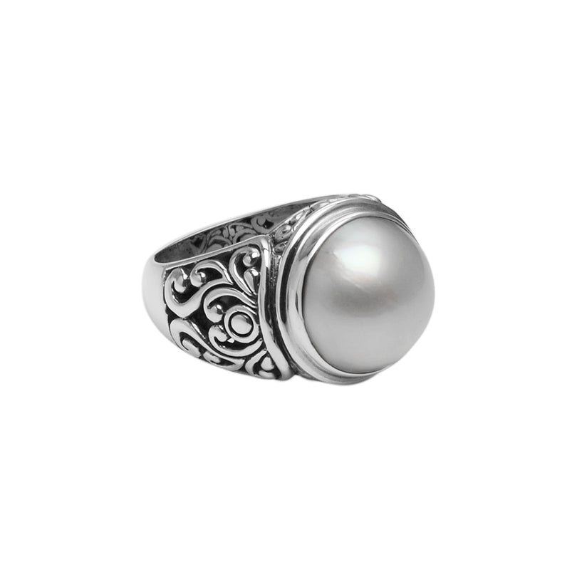 Gorgeous Large White Mabe Fresh Water Pearl Balinese Filigree Sterling Silver Ring