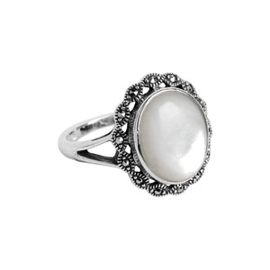 Shimmery White Mother of Pearl and Marcasite Sterling Silver Ring