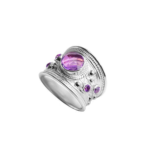Gorgeous Faceted Amethyst Sterling Silver Ring