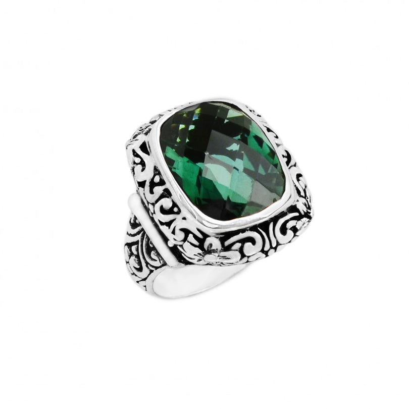 Sparkly Cushion Cut Emerald Green Quartz Filigree Bali Design  Sterling Silver Ring