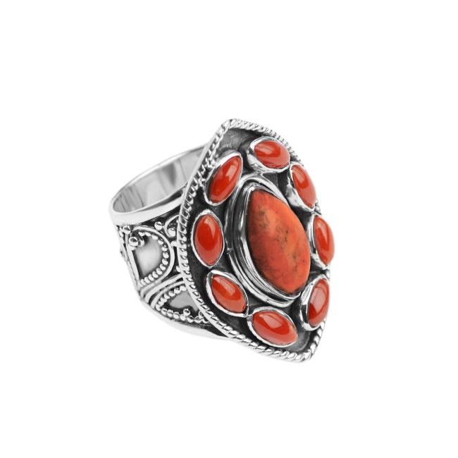 Bright Himalayan Coral Sterling Silver Ring