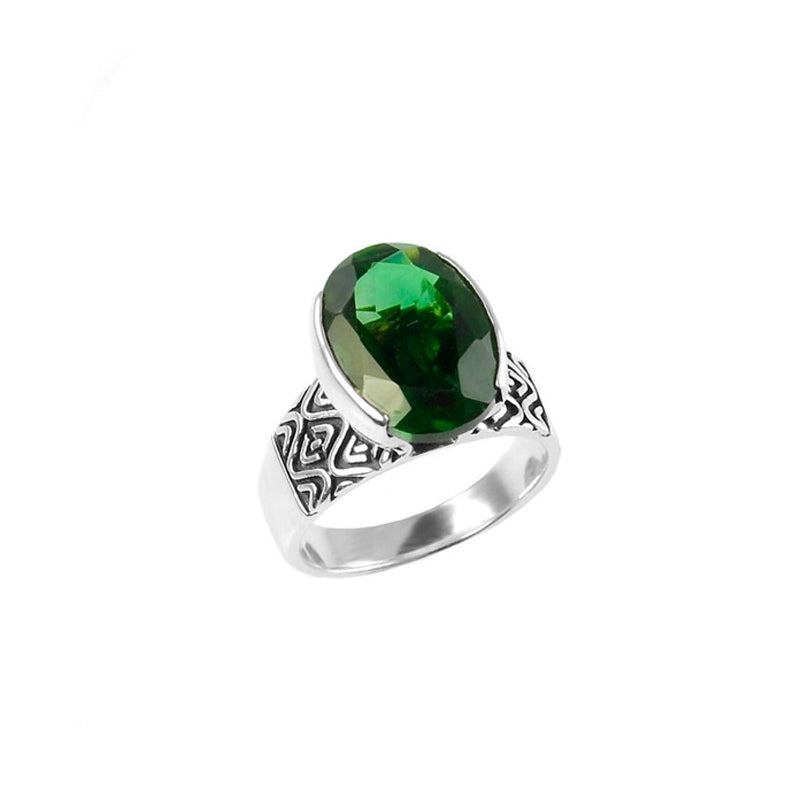 Shimmering deGruchy Emerald Green Quartz Sterling Silver Ring