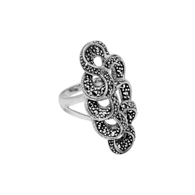 Elegant Marcasite Cocktail Sterling Silver Ring