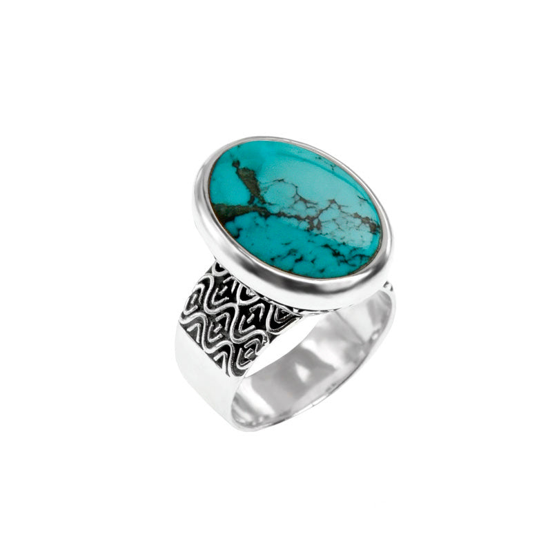 deGruchy Genuine Blue Turquoise Sterling Silver Ring