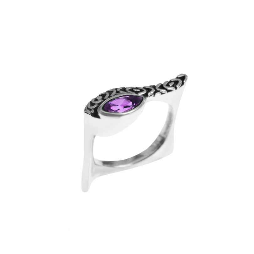Exquisite DeGruchy Egyptian Eye Amethyst Sterling Silver Ring