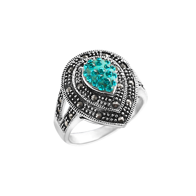 Sparkling Blue Crystal and Marcasite Sterling Silver Ring