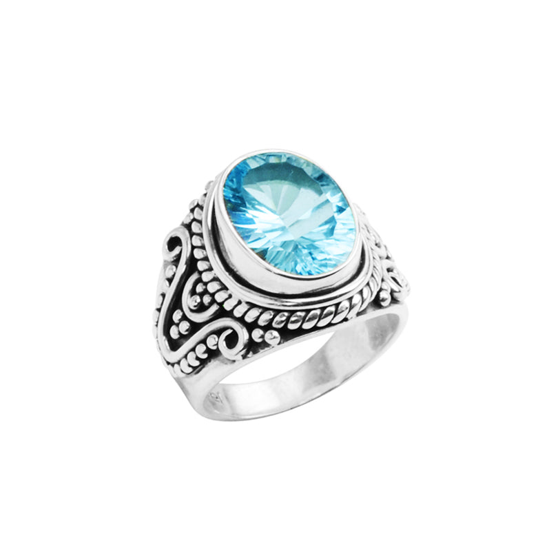 Gorgeous Balinese Design Blue Topaz Wave Cut Sterling Silver Ring