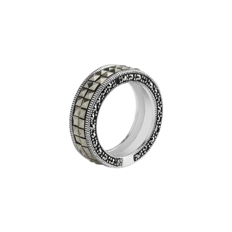 Elegant Marcasite Sterling Silver Eternity Ring