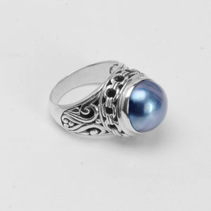Stunning Dark Mabe Pearl Sterling Silver Ring