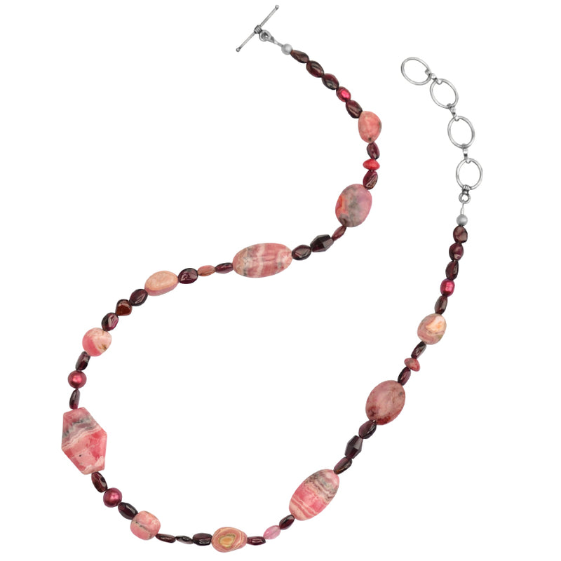 Sterling Silver Natural Rhodochrosite, Garnet, Pearl Necklace - Only one left!