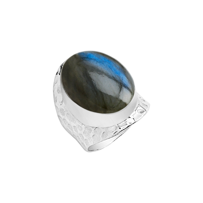 Florescent Blue Labradorite Sterling Silver Ring