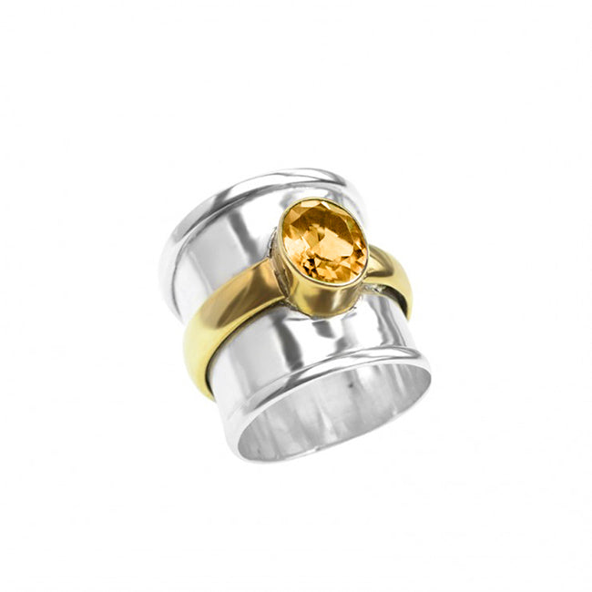 Citrine Sterling Silver Ring With Brass Accent
