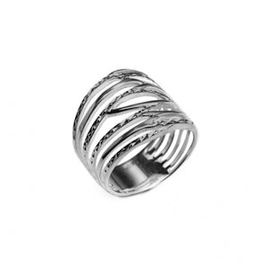 Delicately Entwined Layered  Rhodium Plated Sterling Silver Ring