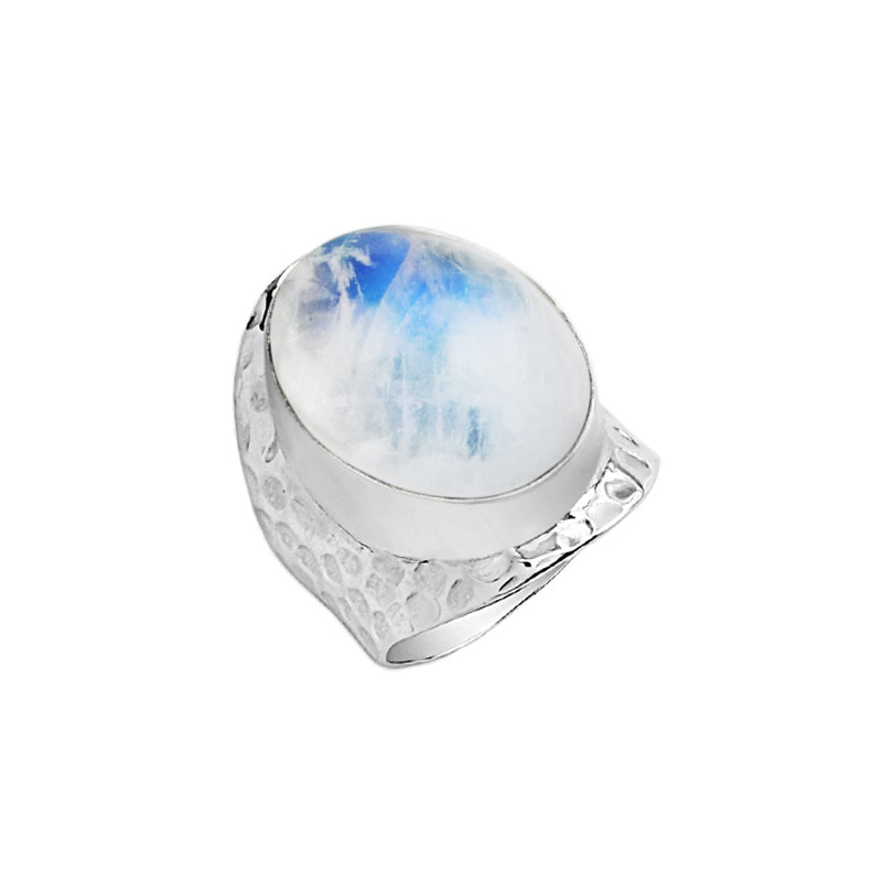 Mystical Rainbow Moonstone Sterling Silver Ring