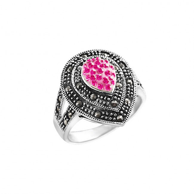 Sparkling Pink Crystal and Marcasite Sterling Silver Ring