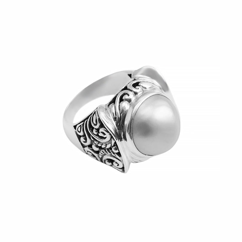Magnificent Balinese Design White Mabe Pearl Sterling Silver Statement Ring