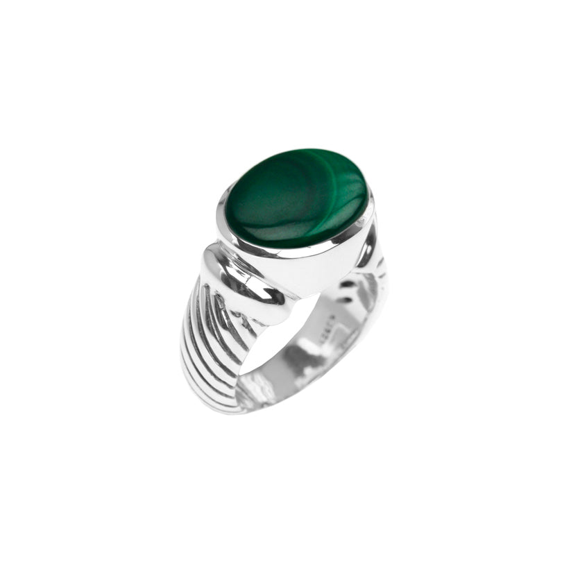 Rich Forest Green Malachite Sterling Silver Ribbed Design Statement Ring-size 9