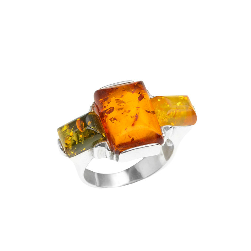 Gorgeous Baltic Amber Wave Cut Sterling Silver Ring