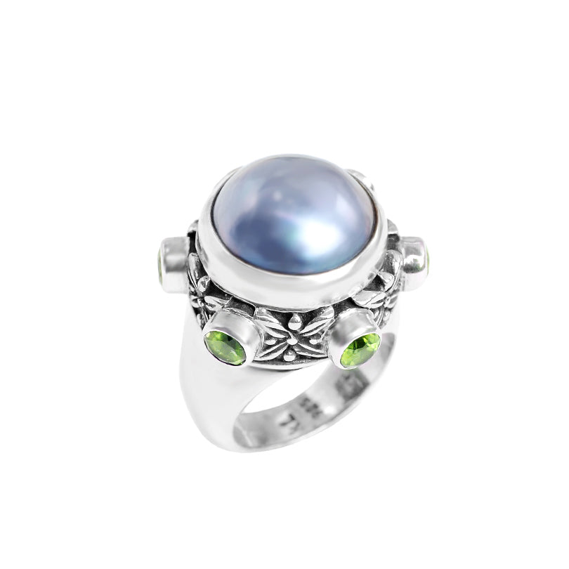 Shimmering Blue Mabe Pearl with Peridot Accent Ring