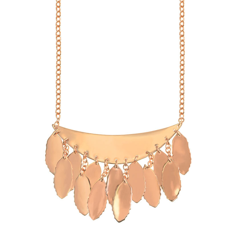Beautiful Shinny Crescent and Leaves 14kt Rose Gold Plated Necklace