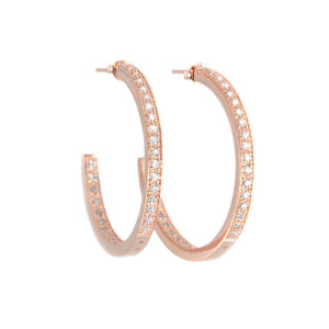 14kt Rose Gold Plated Crystal Round Half Hoops 1-1/2""