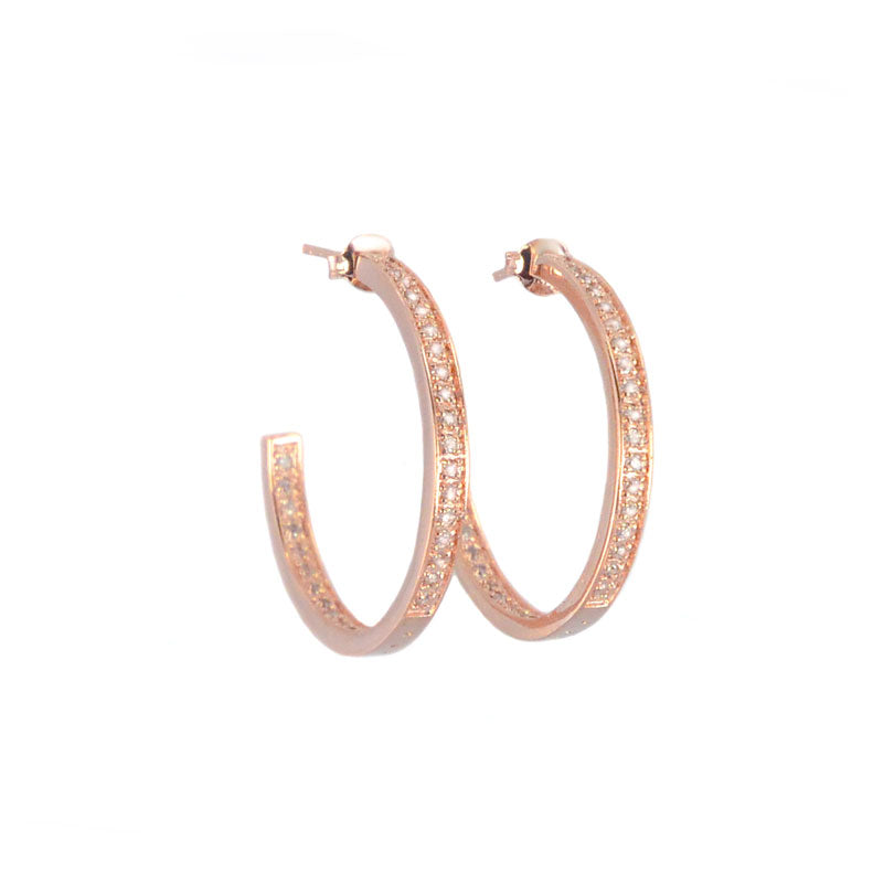 "Lovely Delicate 14Kt Rose Gold Plated Crystal Round Half Hoops 1""-only one pair available"