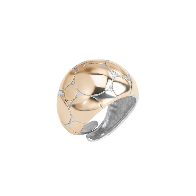 Rich Rose Gold Accent Sterling Silver Adjustable Ring
