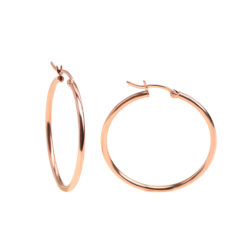 Stunning Rose Gold Plated Hoop Earrings