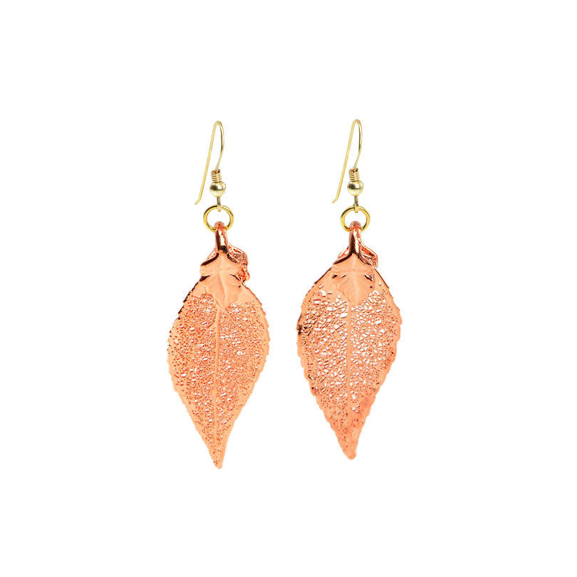 Copper Rose Gold Color Real Leaf Earrings
