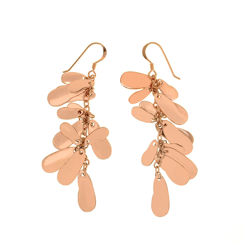 Brilliant 14kt Rose Gold Plated Dangle Earrings