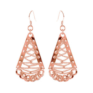 Unique and Stunning Rose Gold Plated Chain Weave Earrings