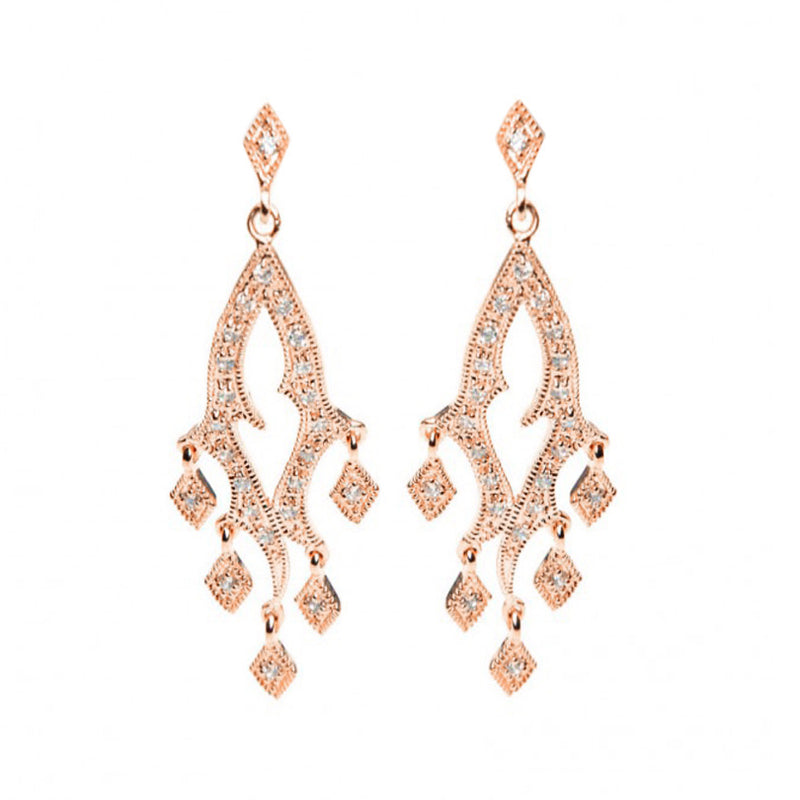 Sparkling Rose Gold Plated Vintage Design Crystal Earrings