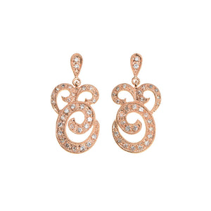 Elegant 14kt Rose Gold Plated Swirl Crystal Earrings