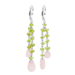 Delicate Green Peridot Stones With Rose Quartz Teardrops Sterling Silver Lever-Back Earrings