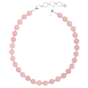 "Creamy Rose Quartz and Fresh Water Pearl Sterling Silver Necklace 16"" - 18"""